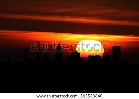 Montreal skyline at sunset illustration - stock photo