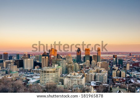 Montreal Skyline at Sunset in Winter - stock photo