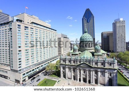 Montreal skyline, Place du Canada, aerial view - stock photo