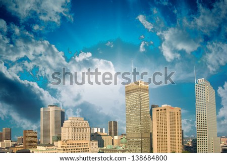 Montreal skyline with beautiful sky colors - Canada. - stock photo