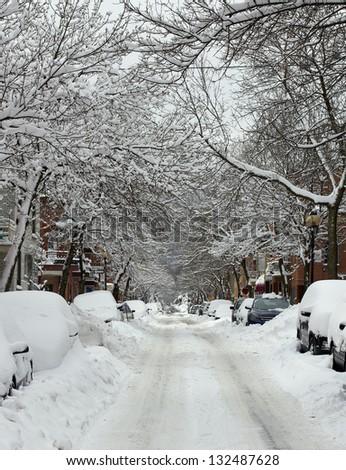 montreal snow storm - stock photo
