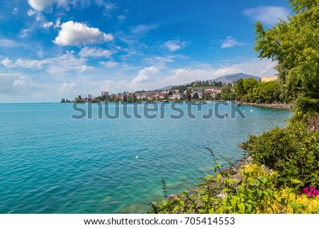 Montreux and Lake Geneva in a beautiful summer day, Switzerland