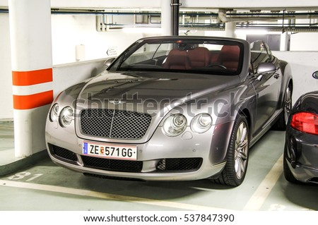 MONTREUX, SWITZERLAND - AUGUST 6, 2014: Sports car Bentley Continental GTC in the underground parking.