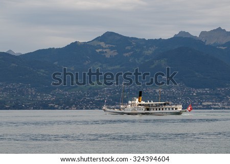 MONTREUX, SWITZERLAND/ EUROPE - SEPTEMBER 15: Vevey steaming along Lake Geneva near Montreux in Switzerland on September 15, 2015. Unidentified people.