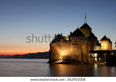 MONTREUX, SWITZERLAND - MAY 23: Beautiful view of famous Chateau de Chillon castle in Montreux (Vaud), It's popular tourists attraction. Geneva lake, Montreux, Switzerland on May 23, 2010. - stock photo