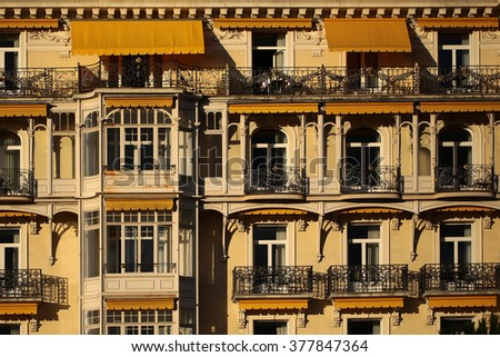 montreux switzerland september 18 2015 beautiful ornate yellow building facade of montreux - Yellow Hotel 2015