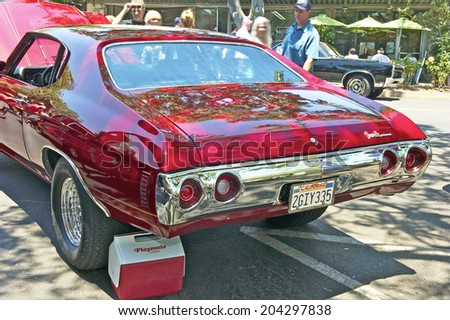 MONTROSE/CALIFORNIA - JULY 6, 2014: 1972 Chevy Chevelle SS 454 (Cowl Induction) owner unknown at the Montrose Hot Rod & Classic Car Show. July 6, 2014 Montrose, California USA - stock photo