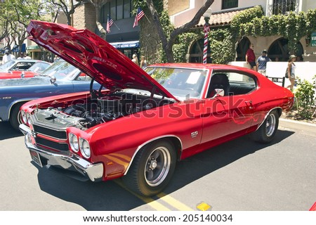 MONTROSE/CALIFORNIA - JULY 6, 2014: 1970 Chevy Chevelle SS 396 owned by Ross Lowande at the Montrose Hot Rod & Classic Car Show. July 6, 2014 Montrose, California USA - stock photo