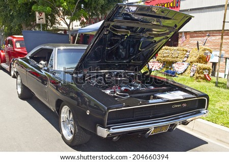 MONTROSE/CALIFORNIA - JULY 6, 2014: 1968 Dodge Charger owned by Larry Peterson at the Montrose Hot Rod & Classic Car Show. July 6, 2014 Montrose, California USA  - stock photo