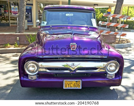 MONTROSE/CALIFORNIA - JULY 6, 2014: 1956 Ford F100 owned by Bob Trainor at the Montrose Hot Rod & Classic Car Show. July 6, 2014 Montrose, California USA - stock photo