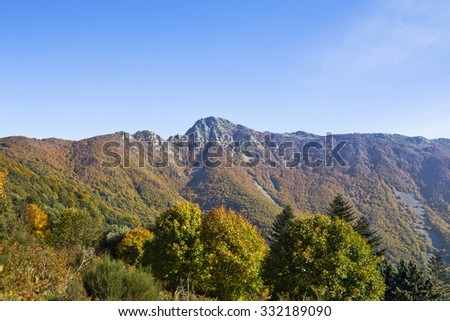 Montseny Natural Park in the fall with all  colours of trees in Catalonia (Spain). In the background you can see the mountain Les Agudes.