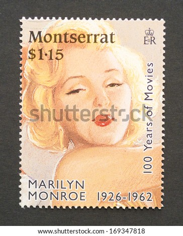 MONTSERRAT - CIRCA 1995 a postage stamp printed in Montserrat showing an image of Marilyn Monroe, circa 1995.  - stock photo