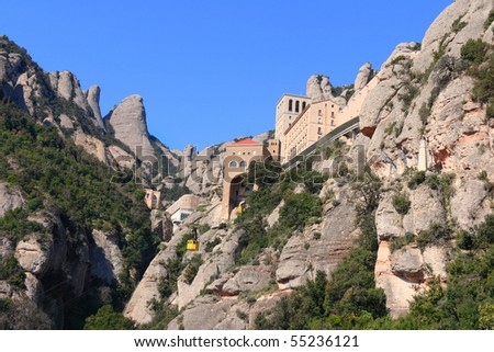 Montserrat monastery and mountain, a renowned tourist and pilgrim destination (Catalonia, Spain).