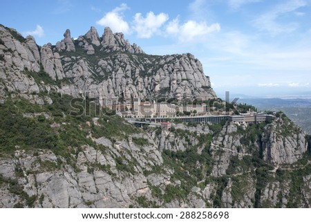Montserrat Monastery is a Benedictine Abbey high up in the mountains, Barcelona, Catalonia, Spain. - stock photo