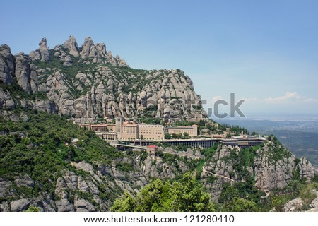Montserrat Monastery is a Benedictine Abbey high up in the mountains near Barcelona, Catalonia, Spain. - stock photo