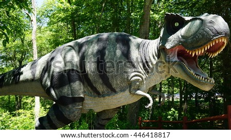 MONTVILLE, CT - JUN 18: The Dinosaur Place at Nature's Art Village in Montville, Connecticut, as seen on Jun 18, 2016. The park features over 40 life-sized dinosaurs on 1.5 miles of nature trails.