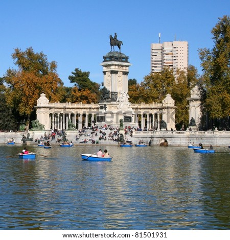 Monument Alfonso XII in Retiro park in Madrid