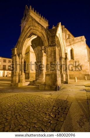 Monument and ancient church ( Padrao do Salado ) in the center of Guimaraes city. European Capital of Culture 2012