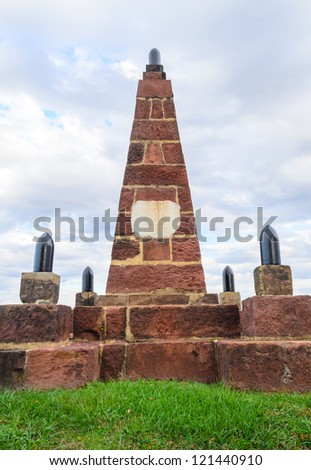 Monument at the Historic Henry House at Manassas National Battlefield Park - stock photo
