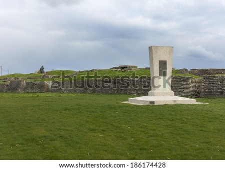 Monument at Word War I Trenches in Flanders, near Diksmuide, called Dodengang in Dutch and Boyau de la Mort in French.  - stock photo