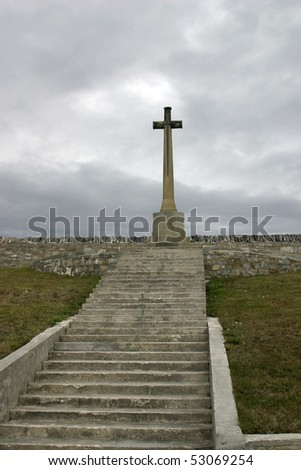 Monument cross for death British soldiers in Falkland war - Port Stanley cemetary