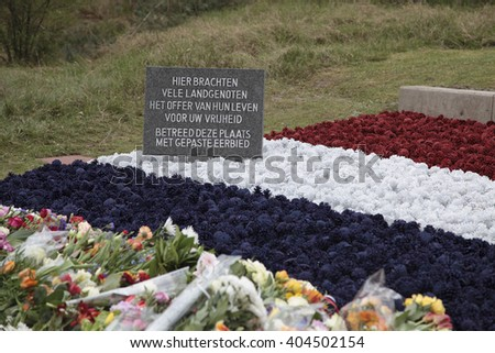 Monument for the fallen soldiers during world war II, Waalsdorpervlakte in the Netherlands - stock photo