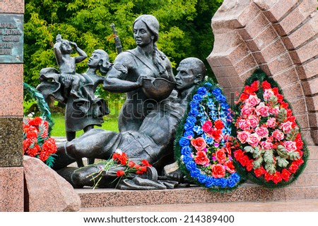 Monument in the Brest Fortress, Brest, Belarus. It is one of the Soviet World War II war monuments commemorating the Soviet resistance against the German invasion on June 22, 1941 - stock photo