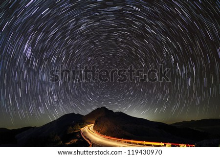 Monument Long Exposure Star Trail Image, MT. Shimen ,  Hehuan Mountain, Taiwan - stock photo