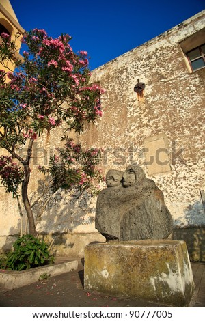 Monument near Saint Vincent Cathedral on Stromboli - stock photo