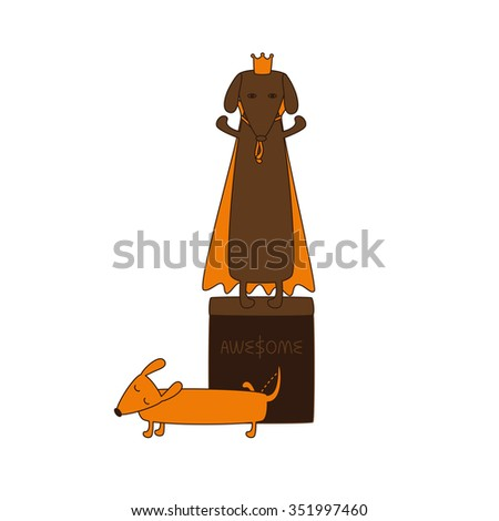 Monument of dog king in crown and mantle and cute cartoon brown contoured foxy colored pissing dachshund with closed eyes, brown nose, one leg up and curled tail isolated on white background - stock photo
