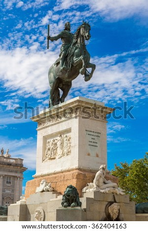 Monument of Philip IV of Spain in Plaza de Oriente in Madrid, Spain