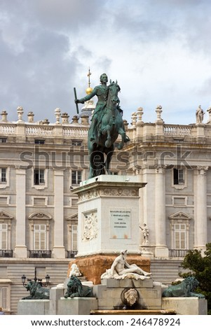 Monument of Philip IV on Plaza de Oriente Central Gardens located between the Royal Palace and the Royal Theatre in Madrid, Spain.  - stock photo