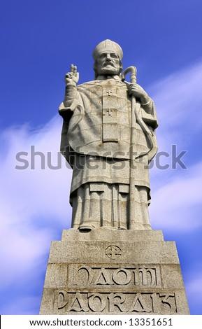 monument of saint patrick in downpatrick ireland - stock photo