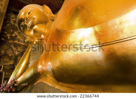 Monument of sleeping buddha, Wat Poh Bangkok. The biggest sleeping buddha