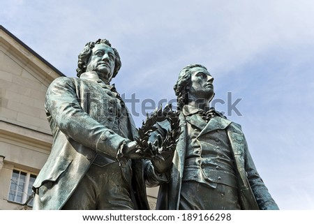 Monument of the famous writers Goethe and Schiller in Weimar, Germany - stock photo