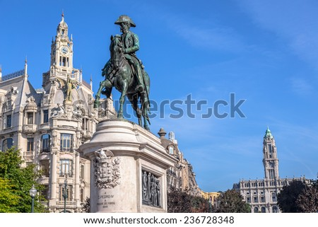 Monument of the king Pedro IV on the Liberdade square in Porto, Portugal. - stock photo