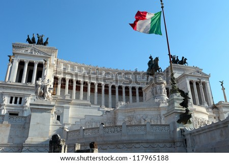 Monument of Vittorio Emanuele II in Rome, Italy - stock photo