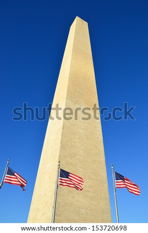 Monument on clear sky in Washington DC, USA - stock photo