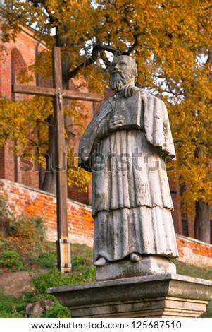 Monument Sandomierz abbot of the monastery - Vincent Kadlubek - stock photo