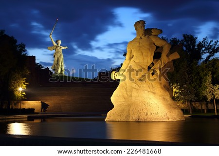 Monument Stay to Death in Mamaev Kurgan at night, Volgograd, Russia  - stock photo