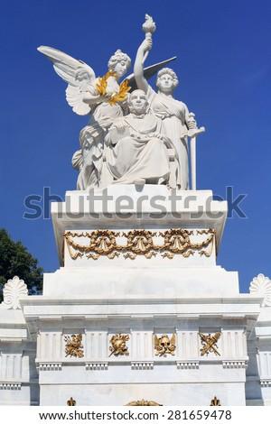 Monument to Benito Juarez in the Mexico City Alameda Central - stock photo