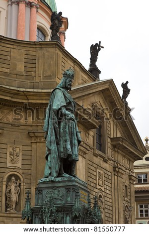 Monument to Charles IV, the Crusaders' Square in Prague