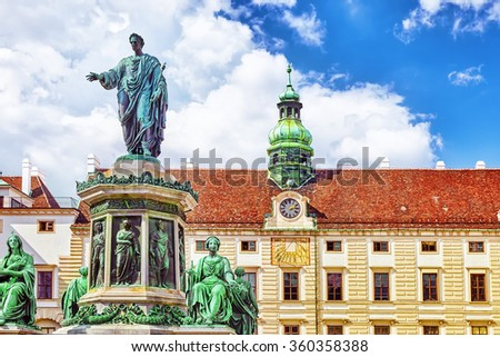Monument to Emperor Franz I of Austria, in the Innerer Burghof in the Hofburg imperial palace by Pompeo Marchesi from years 1842 - 1846 in the patio of the imperial Hofburg Palace of Vienna, Austria. - stock photo