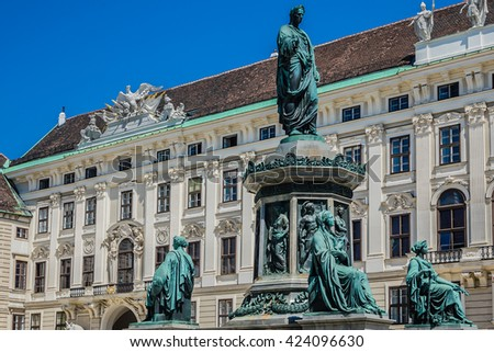 Monument to Emperor Franz I of Austria (Kaiser Franz Denkmal by Pompeo Marchesi, 1842 - 1846) in the Innerer Burghof in the Hofburg imperial palace. Vienna, Austria. - stock photo