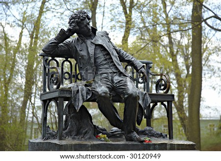 Monument to great Russian poet Alexander Pushkin. St.-Petersburg, Imperial village, a garden of Tsarskoselsky lycee.