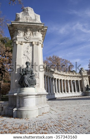 Monument to King Alfonso XII at famous retiro park, Madrid, Spain