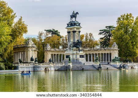 Monument to King Alfonso XII (designer Jose Grases Riera, 1922) in Parque del Buen Retiro. Fragment of the colonnade. Buen Retiro Park - one of largest parks of Madrid City. Spain.