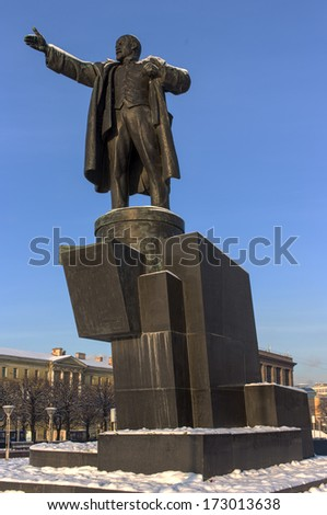 Monument to Lenin in St. Petersburg on square in its own name