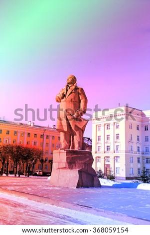 Monument to Lenin in the city of Smolensk - stock photo