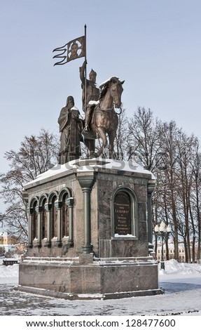 Monument to Prince Vladimir and the monk Fyodor at Pushkin Park in Vladimir